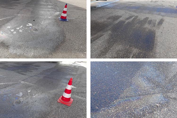olievlekken verwijderen op de weg